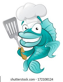 Cute Chef Fish with Spatula. Great illustration of a Cute Cartoon Cod Fish Chef holding a Frying Spatula.