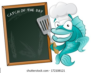 Cute Chef Fish with Spatula and Menu Board. Great illustration of a Cute Cartoon Cod Fish Chef holding a Frying Spatula next to Menu Board.