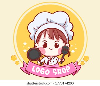 Cute Chef girl smiling cartoon art holding pan and Spatula illustration logo. Premium Vector