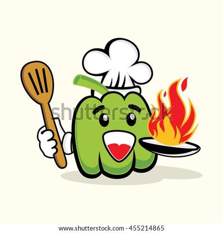 Coloriage Paprika Dessin Anime.Cute Chef Green Paprika Hot Fire Image Vectorielle De Stock Libre