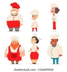 Cute chef men, women and children of different nationalities and ages. Restaurant staff in uniform. Cook vector cartoon character set isolated on white background.