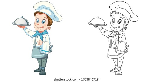 Cute chef serving a dish. Coloring page and colorful clipart character. Cartoon design for t shirt print, icon, logo, label, patch or sticker. Vector illustration.