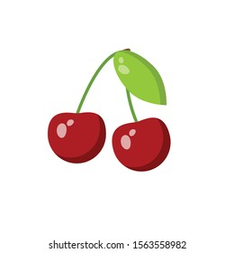 cute cherries colorful icon.vector. fresh cherries.cartoon style