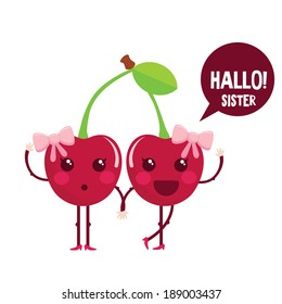 Cute cherry cartoon characters. Cute berry with eyes and accessories. Vector illustration.