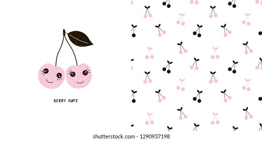 Cute cherry sisters characters illustration. Cherry berry seamless pattern. Pink colour. Perfect for baby girl fabric, textile, apparel, pyjamas, t-shirt print design