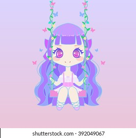 Cute chibi anime fairy girl sitting on swing