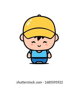 Cute Chibi Boy Character With Yellow Hat Vector Design