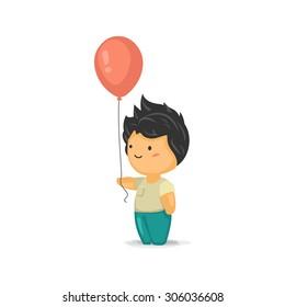 Cute Chibi Boy Holding a Balloon