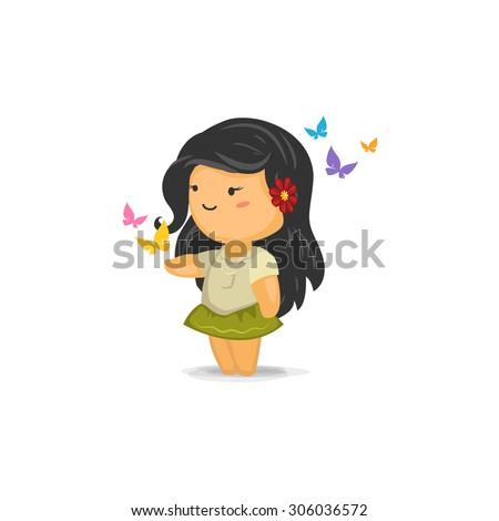 cute chibi girl butterflies stock vector royalty free 306036572