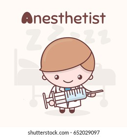 Cute chibi kawaii characters. Alphabet professions. The Letter A - Anesthetist. Flat cartoon style