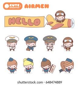 Cute chibi kawaii characters profession set: Airmen. Flat cartoon style