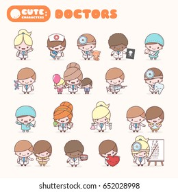 Cute chibi kawaii characters profession set: Doctors. Flat cartoon style