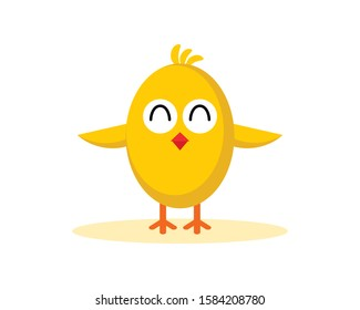 Cute Chick smile and spread his wing