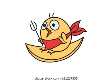 Cute Chick . Vector Illustration. Isolated on white background.