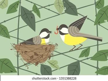 Cute chickadee birds couple in nest. Hand drawn flat minimal design. Male bird is feeding by worm female sitting on eggs in straw nest on tree branch. Vector birdwatching card background illustration
