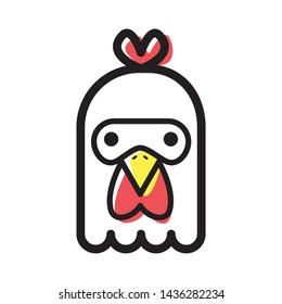 cute chicken animal icon illustration
