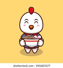 Cute Chicken Bring Ramen Noodle Cartoon Icon Illustration.