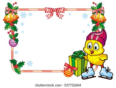 Cute chicken in funny hat ice skating. Christmas holiday frame. Copy space. Vector clip art.