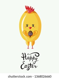 Cute chicken in style kawaii holding  the beautiful  chokolate egg  with written  easter lettering phrase. Happy  Easter greeting card, poster with fun cartoon animal isolated on white. Flat vector
