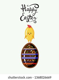 Cute chicken in style kawaii standing on the top of  chokolate egg  with written  easter lettering phrase. Happy  Easter greeting card, poster with fun cartoon animal isolated on white. Flat vector