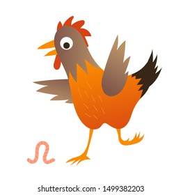 Cute chicken with the worn illustration. Illustration for kids book.