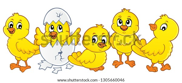 Cute chickens topic image 1 - eps10 vector illustration.