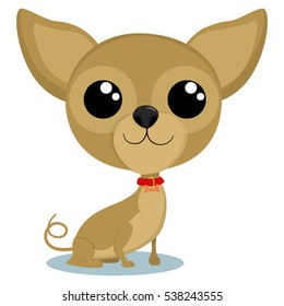 Cute chihuahua dog portrait. Vector cartoon illustration on a white background.