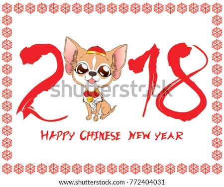 cute chihuahua sit chinese new year greetings white background