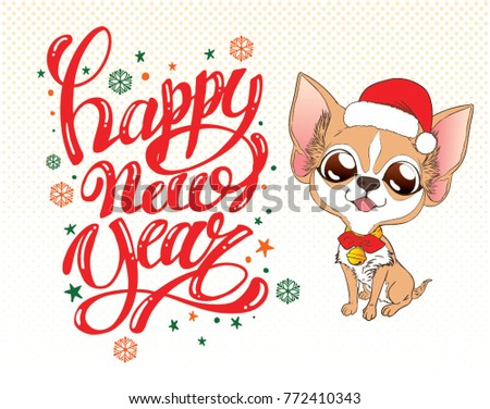cute chihuahua sit and happy new year greetings