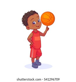 Cute child basketball player with a ball in sports uniform, full-length. Vector cartoon boy character isolated on white background.