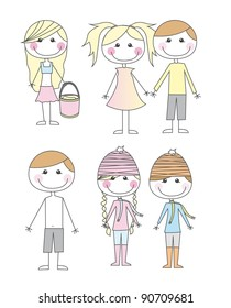 cute child cartoons isolated over white background. vector
