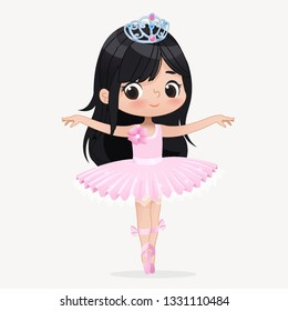 Cute Child Girl Ballerina Dancing Isolated. Caucasian Ballet Dancer Princess Character Jump Motion. Elegant Child wear Pink Tutu for School. Brunette Doll Concept Flat Cartoon Vector Illustration
