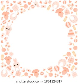 Cute child otems circlae frame for baby shower card, its a girl greeting background, colourful child birth border