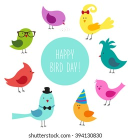 Cute childish Bird Day card with funny cartoon characters of birds and hand written text