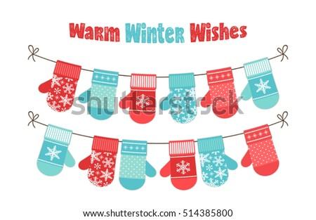 cute childish christmas and new year banner with mittens bunting for your decoration