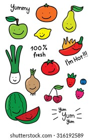 Cute, childish hand drawn vector illustrations of fruit and vegetables with happy faces.