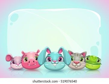Cute childish horizontal banner template with funny cartoon animal faces and place for text. Funny background with kind pet characters. Vector illustration.
