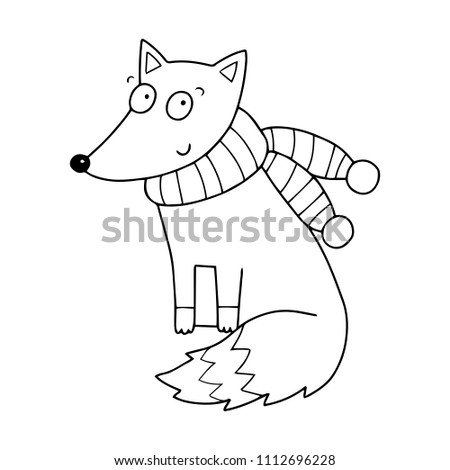 Cute Childish Little Fox Coloring Book Stock Vector (Royalty Free ...