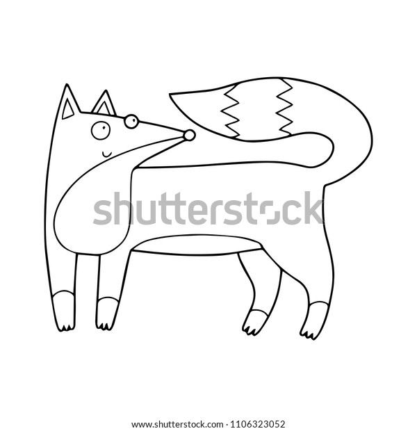 Cute Childish Little Fox Coloring Book Stock Vector (Royalty ...