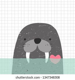 Cute childish print or poster with walrus in water. Nautical graphic. Vector hand drawn illustration.
