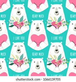 Cute childish seamless pattern with cartoon characters of mama bear and papa bear holding hearts and flowers