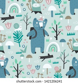 Cute childish seamless pattern with forest, trees and bear. Perfect for kids fabric, textile, nursery wallpaper.