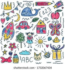 Cute childlike drawings icons vector set