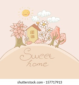 Cute childlike sweet house with flowers, sun and trees