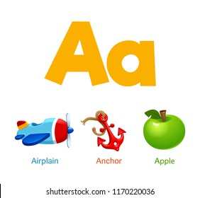 Cute children ABC alphabet flashcard words with the letter A for kids learning English vocabulary.