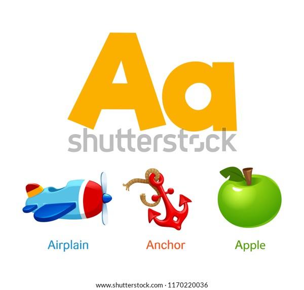 Cute Children Abc Alphabet Flashcard Words Stock Vector