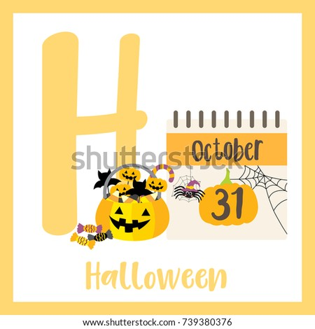 dfadd014e1 Cute children ABC alphabet H letter flashcard of Halloween for kids learning  English vocabulary in Happy