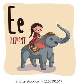 Cute children ABC Alphabet. Letter E is for Elephan