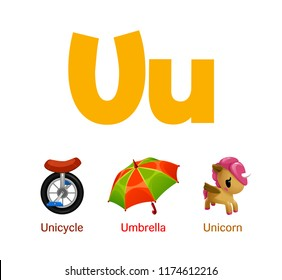 Cute children ABC animal alphabet flashcard words with the letter U for kids learning English vocabulary.