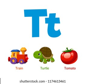 Cute children ABC animal alphabet flashcard words with the letter T for kids learning English vocabulary.